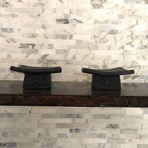Dimpled Curved, Unique, Candle Holders set of 2